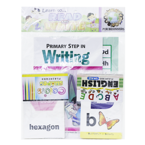 Primary Step in Reading & Writing  <br> (2 Books with Free Flash Cards, Colors& Shapes+English Alphabet)