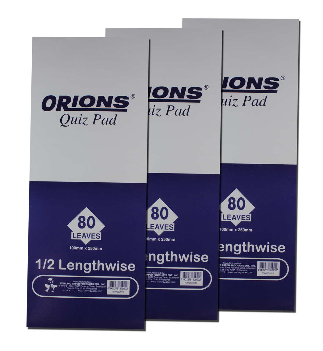Orions <br> Quiz Pad (1/2 Lengthwise) <br> Pack of 3