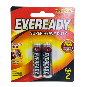 Eveready Battery Super Heavy Duty Black AA, Pack of 2
