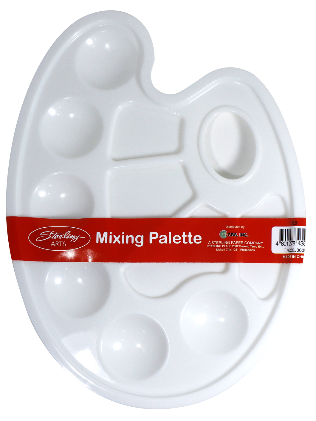Sterling <br> Mixing Palette, <br> 10 Divisions White Oval Shape