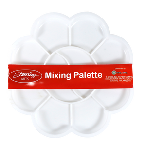 Sterling <br> Mixing Palette, <br> 10 Divisions White Flower Shape