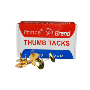 Prince <br> Thumbtacks (No.33) <br> Box of 100, Gold