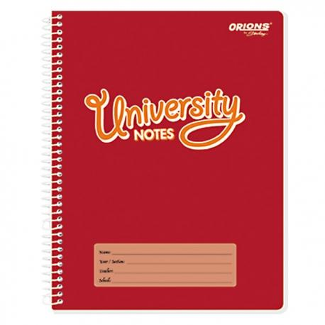 Orions <br> Spiral Notebook, UNIVERSITY NOTES <br> 8X10.5 inches 80 leaves