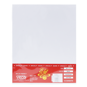 Elit <br> Specialty Paper 220 GSM Pack of 10, <br> 8.5x 11 Inches, FLAMBOYAN WHITE