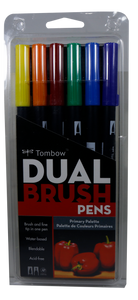 Tombow <br> Dual Brush Pen Art Marker <br> 6 Counts, Assorted Primary Colors