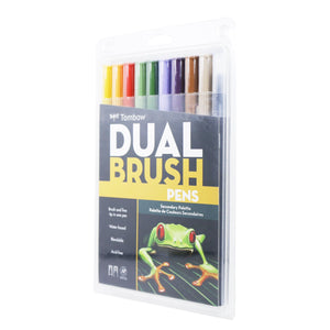 Tombow Dual Brush Pen Art Marker 10 Counts, Assorted Secondary Colors