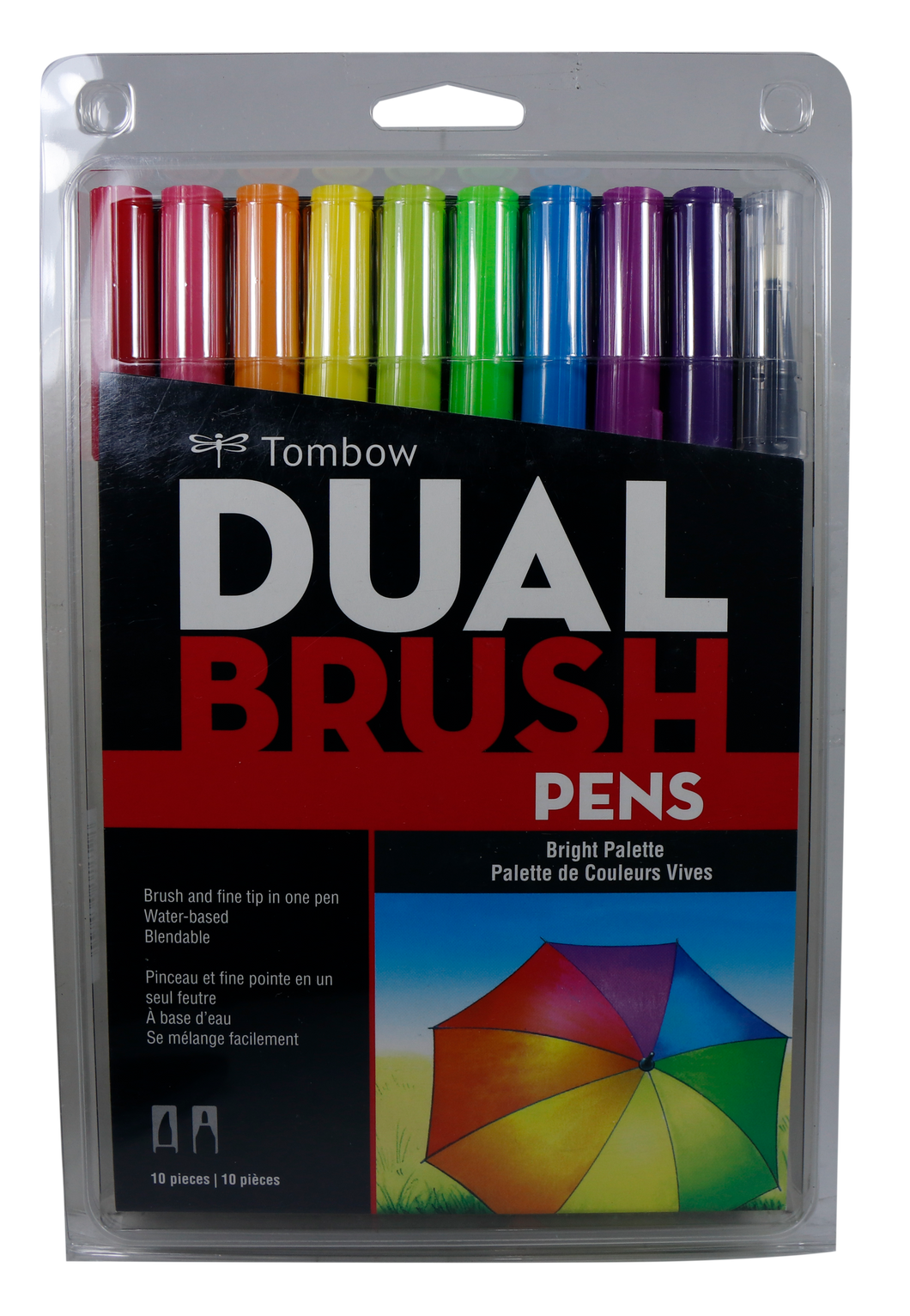 Tombow <br> Dual Brush Pen Art Marker ( BRIGHT ) <br> 10 Counts, Assorted Colors
