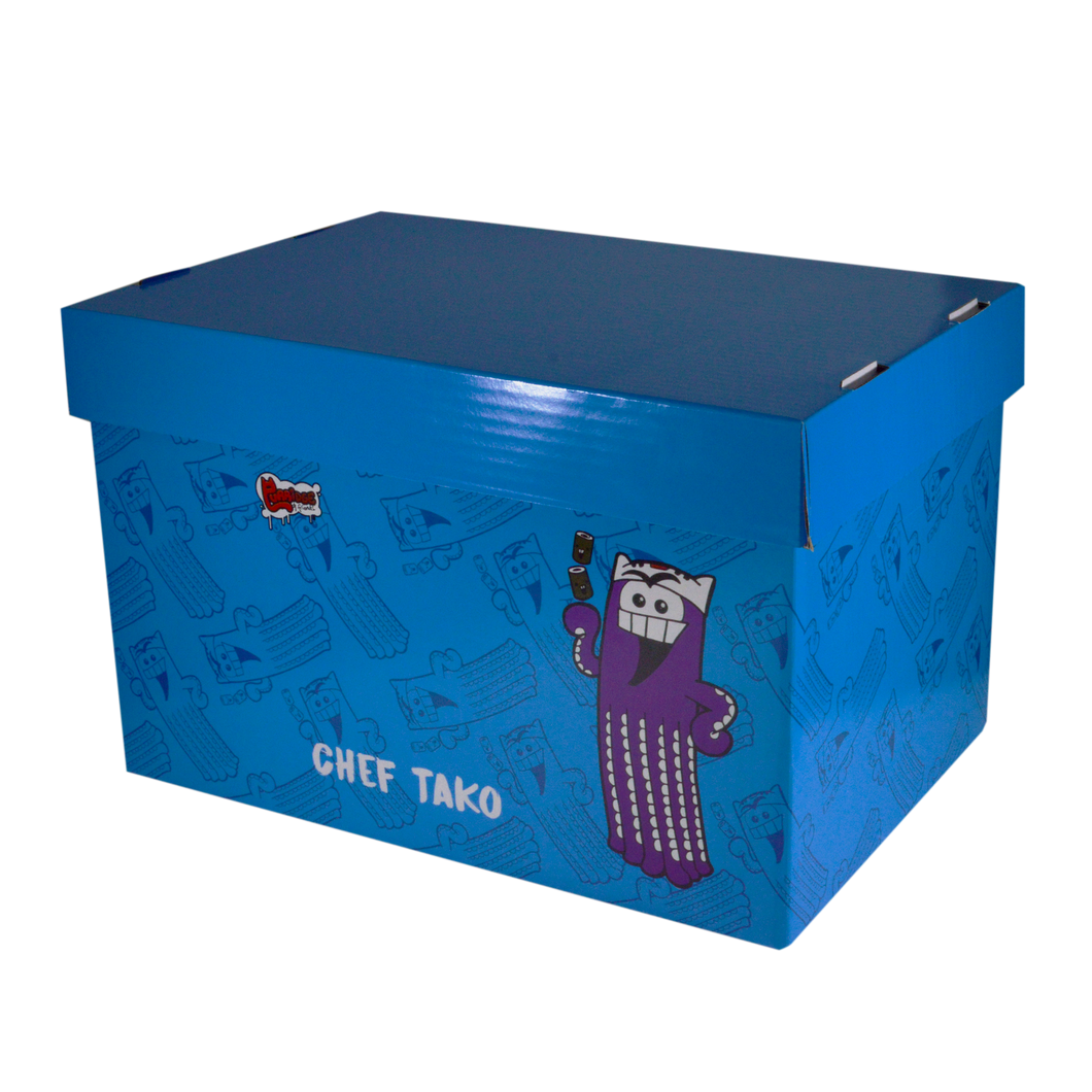 Fairfax <br> Storage Box with prints, <br> CHEF TAKO Coated Board ( Glossy ) <br> 15x10x9 inches