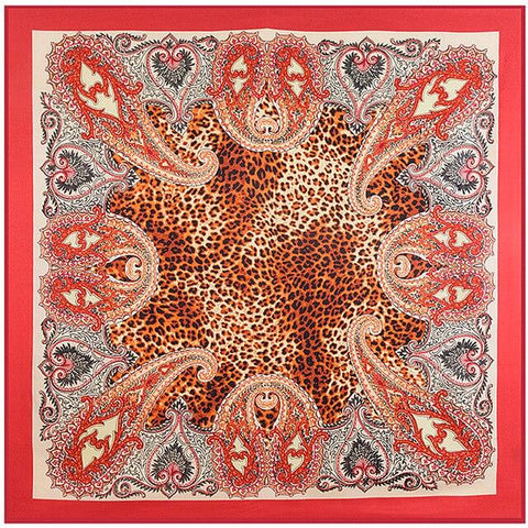 Rotes Leopard Paisley Tuch
