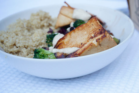Veggie Stir-Fry with Tofu-Wedges and Quinoa