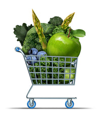 Grocery cart of green veggies