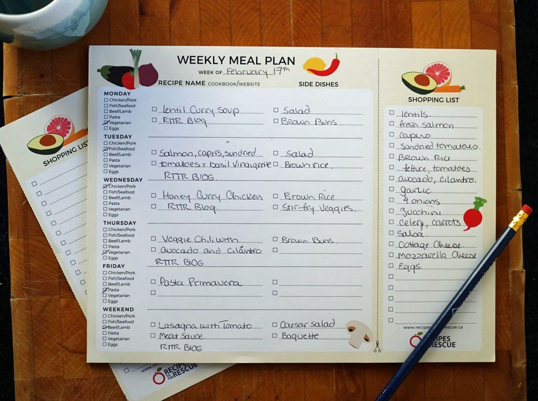 Weekly Meal Planner Notepad with a detachable Shopping list