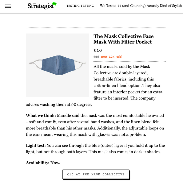 The Mask Collective Featured By The Strategist UK: 'We Tested 11 (and Counting) Actually Kind of Stylish Fabric Face Masks'