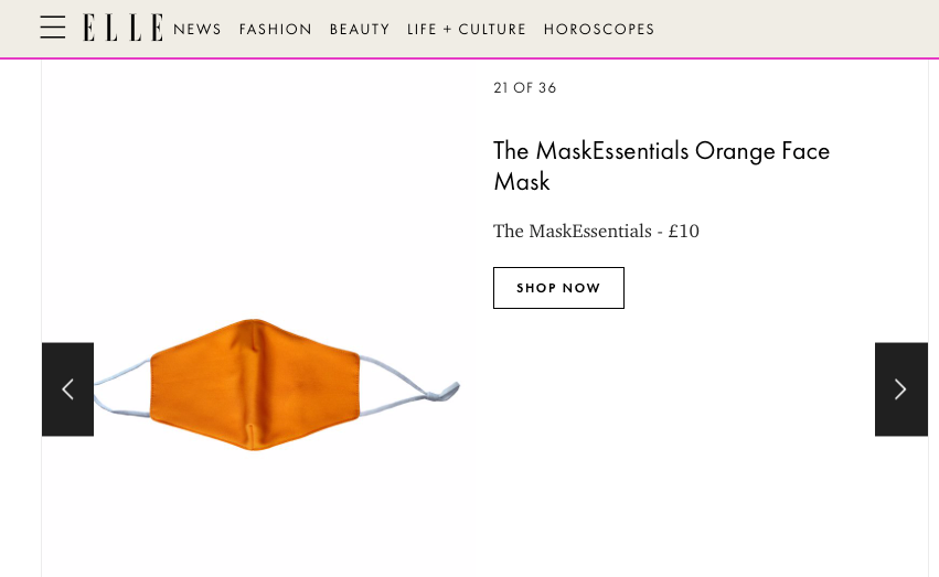 The Mask Collective Featured By ELLE UK: 'Where To Buy Face Masks: 36 Best Cotton Face Masks To Be Safe, Yet Stylish'