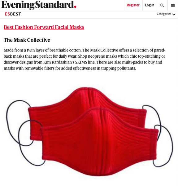 The Mask Collective Featured By Evening Standard: 'Where to buy a face mask in the UK: the best face coverings available online'