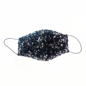 Reusable Fabric Face Mask Luxe Sequins Black