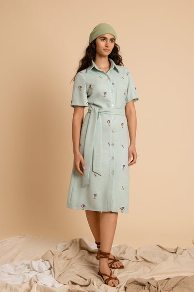 Flower Linen Shirt Dress