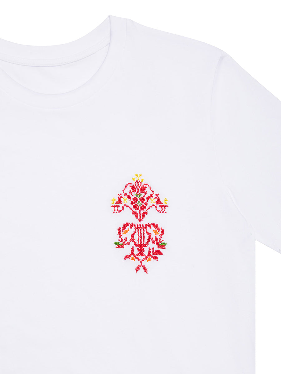 Hand embroidered Harp T-shirt White