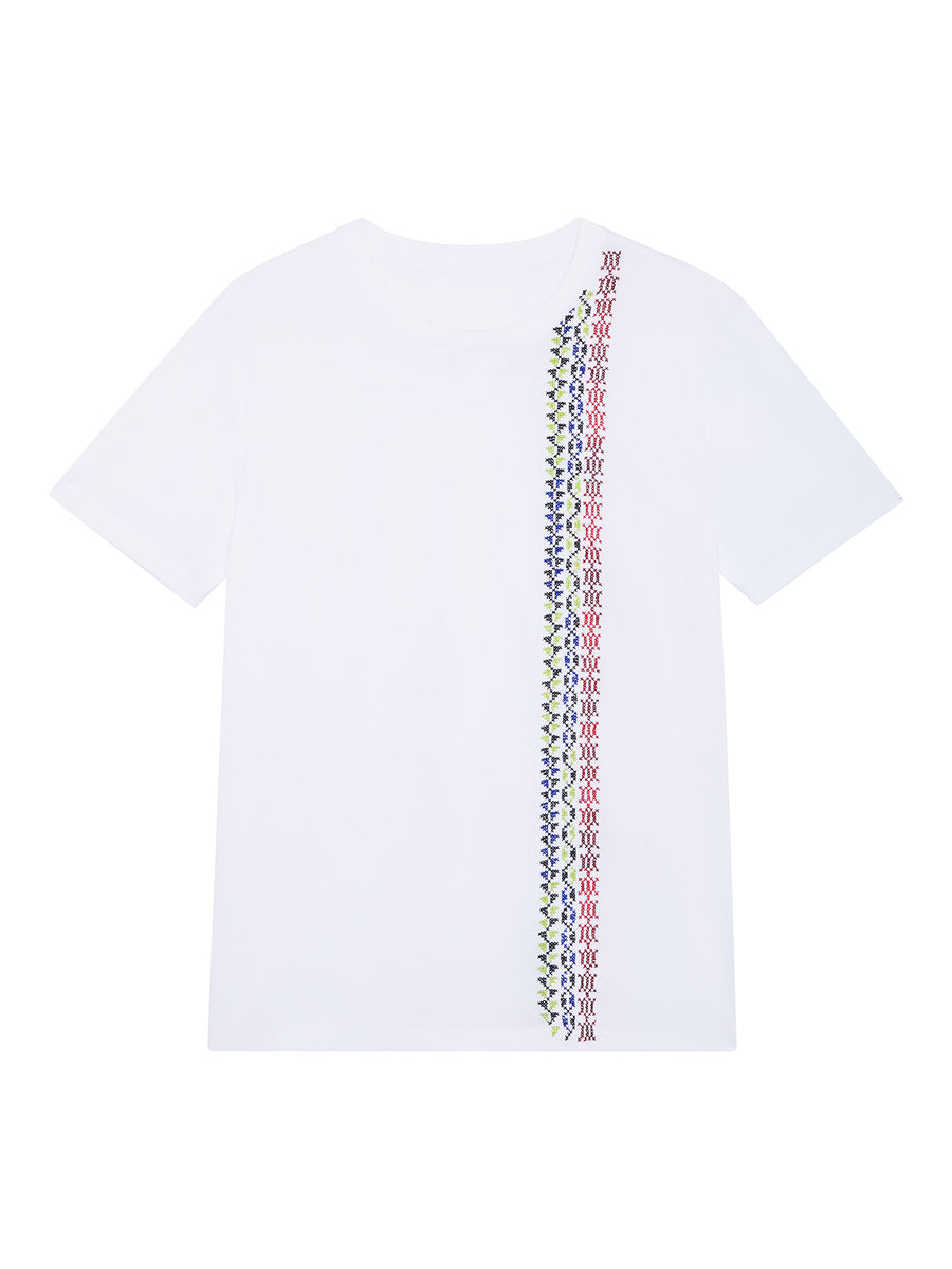 Hand embroidered border T-shirt