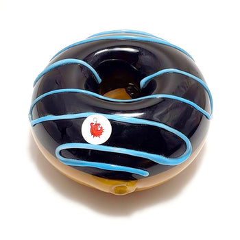 Donut Hand Pipe Black with Blue