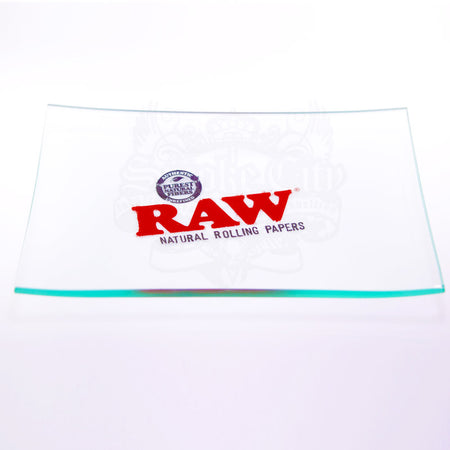RAW DOUBLE THICK MINI GLASS ROLLING TRAY - Smoke City