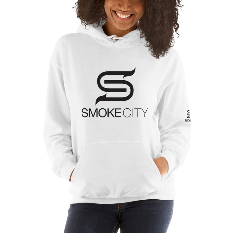 SMOKE CITY Unisex White Hooded Sweatshirt