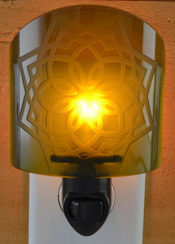 Glass night light - Dark Green Knot