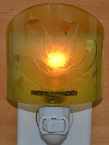 Glass night light - Golden Hummingbird