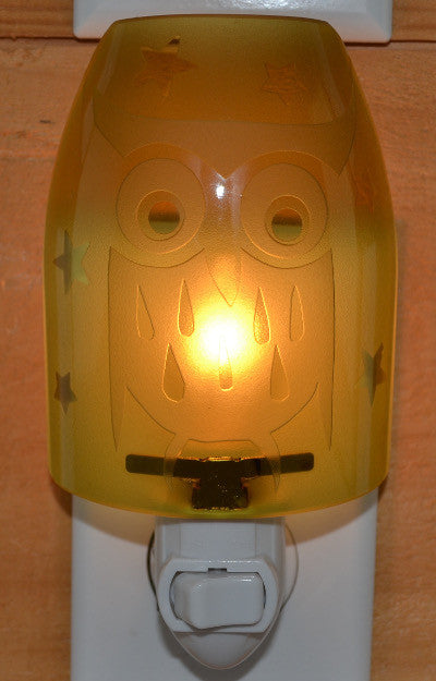 Glass night light - Golden Owl