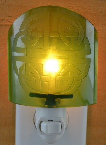 Glass night light - Green Celtic Knot