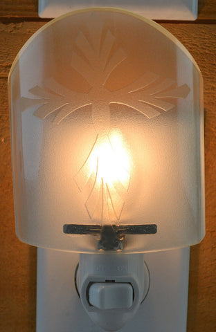 Glass night light - Clear Cross