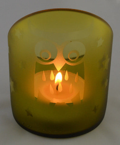 Angle cut candle holder - Golden Owl