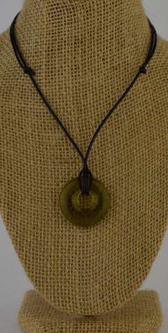 Glass circle necklace - golden