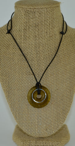 Glass circle necklace - golden glossy