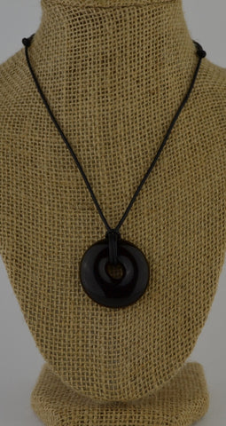 Glass circle necklace - olive green