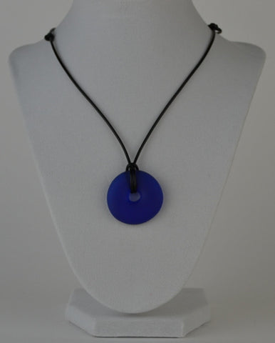 Glass circle necklace - blue matte finish
