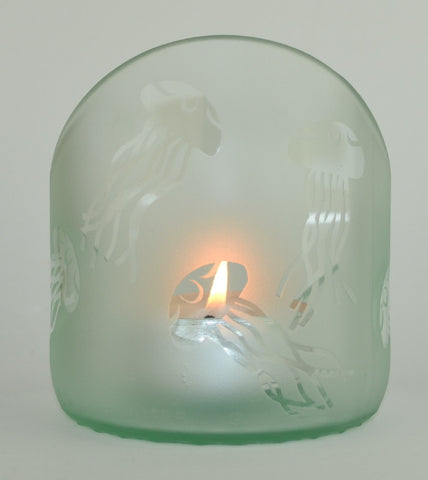 Angle cut candle holder - Clear Jelly Fish