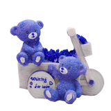 Tirelire Ours bleu sur un tricycle