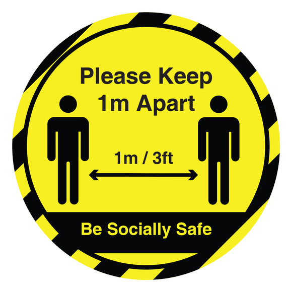 1 Metre Social Distancing Anti-Slip Self Adhesive Floor Sticker | COVID-19 Signage