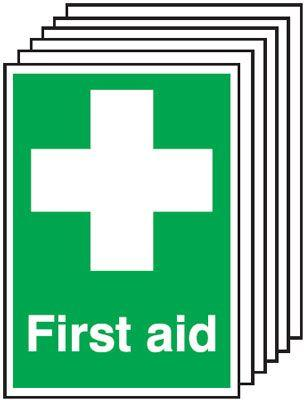 297x210mm First Aid - Self Adhesive Pk of 6