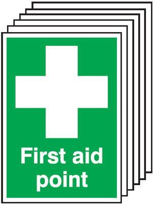 297x210mm First Aid Point - Self Adhesive Pk of 6