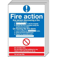 210x148mm Fire Action Notice (Standard) - Self Adhesive Pk of 6