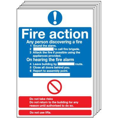 210x148mm Fire Action Notice (Standard) - Rigid Pk of 6