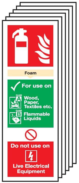 300x100mm Foam Extinguisher For Use On - Rigid Pack of 6