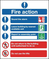 300x250mm Fire Action Notice (Symbolised) - Self Adhesive Pk of 6