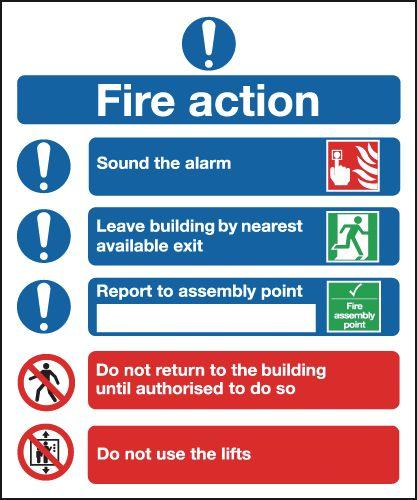210x148mm Fire Action Notice (Symbolised) - Self Adhesive Pk of 6