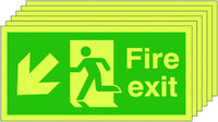 150x300mm Fire Exit Running Man Arrow Down Left - Self Adhesive Pk of 6