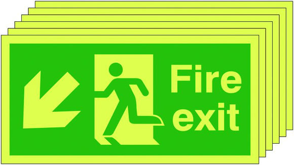 150x450mm Fire Exit Running Man Arrow Down Left - Self Adhesive Pk of 6