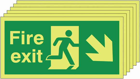 150x300mm Fire Exit Running Man Arrow Down Right - Self Adhesive Pk of 6