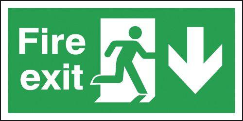 150x450mm Fire Exit Running Man Arrow Down - Rigid Pk of 6